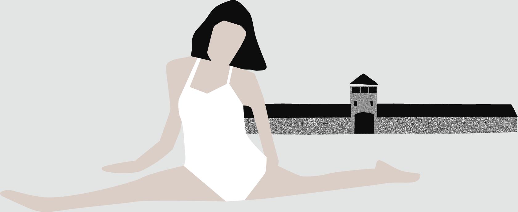 Illustratie van een ballerina voor de poorten van Auschwitz